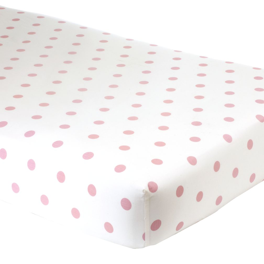 Crib Fitted Sheet (Pink Dot)